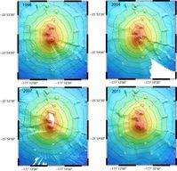 Tiefenkarten des Monowai-Vulkans beruhend auf den Vermessungen 1998, 2004, 2007 und 2011. Schon bei diesen Überblicksdarstellungen werden die Veränderungen deutlich, die der Vulkan im Verlauf weniger Jahre erlebt. Im Mai und Juni 2011 konnten britische und deutsche Forscher nun präzise den Verlauf einer Eruption vermessen. Quelle: Grafik: I. Grevemeyer, GEOMAR (idw)