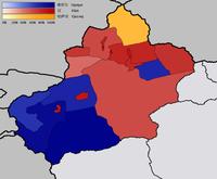 Nationalitäten in Xinjiang: Größte Gruppen nach Bezirken. Blau:Uiguren; Rot:Han-Chinesen; Gelb:Kasachen