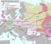 Karte von bestehenden und geplanten Gaspipelines in Europa