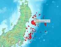 Karte der Beben vom 11. März 2011. Bild: Heinz-Josef Lücking / de.wikipedia.org