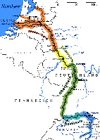 Die Karte zeigt den Fluss Rhein