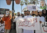 """Vermutlich vom """"Westen"""" bezahlte Marokkanische Salafisten beim Protest von 2011 gegen den Staat (Symbolbild)"""