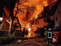 Großbrand in der Merklinger Kirchgrabenstraße