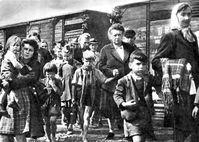 Odsun: Vertriebene Sudetendeutsche warten mit Handgepäck auf ihren Abtransport