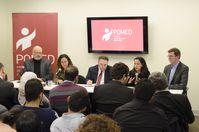 Khashoggi (ganz links) bei einer öffentlichen Diskussionsrunde zum Thema Mohammed bin Salman's Saudi Arabia.