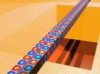 Zwei parallele freistehende Wellenleiter aus polykristallinem Diamant dienen als mechanische Resonat ... Grafik: KIT/CFN/Pernice