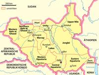 Südsudan: Die Staatsgrenze entspricht den früheren Provinzgrenzen. Strittig sind die Gebiete Abyei und Ilemi.