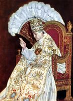 Papst Pius XII. während der Krönungsfeier 1939 auf der Sedia gestatoria.