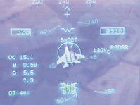 HUD-Ansicht eines Übungsluftkampfes zwischen einer F/A-18 und einer MiG-29 (Symbolbild)