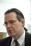 Anders Borg bei einer Pressekonferenz des Finanzministeriums 2010 in Stockholm.
