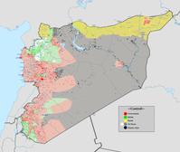 Karte der Gruppen im Bürgerkrieg von Syrien