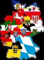 Deutschland mit seinen Bundesländern, dargestellt mit Landesfarben und Wappen