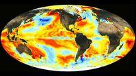 El Niño-Effekt auf die weltweite Wassertemperatur: Im Dezember 2015 waren die Temperaturen im östlichen und zentralen Pazifik deutlich erhöht. Quelle: NASA (idw)