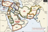 """""""Greater Middle East"""", Bernard Lewis-Plan und Yinon-Plan laufen auf dasselbe hinaus: Die Balkanisierung der moslemischen Staaten-- Note: The following map was prepared by Lieutenant-Colonel Ralph Peters. It was published in the Armed Forces Journal in June 2006, Peters is a retired colonel of the U.S. National War Academy. (Map Copyright Lieutenant-Colonel Ralph Peters 2006). Although the map does not officially reflect Pentagon doctrine, it has been used in a training program at NATO's Defense College for senior military officers. This map, as well as other similar maps, has most probably been used at the National War Academy as well as in military planning circles.  Bild: politaia.org"""