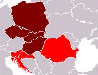 Das Kerngebiet Ostmitteleuropas [Violett] Zum weiteren Ostmitteleuropa gelegentlich gezählt [rot]
