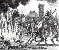 Ermordung von Anneken Hendriks in Amsterdam 1571 auf einem Scheiterhaufen.
