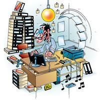 Aktenberg, Überarbeitet, Hektik, Streß, Büro (Symbolbild)