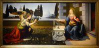 Die Verkündigung Mariae, L'Annunciazione Leonardo da Vinci und Andrea del Verrocchio, circa 1472–1475