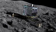 """Die Grafik zeigt, wie die """"Rosetta""""-Landeeinheit """"Philae"""" auf dem Kometen landet. Bild: """"obs/ZDF/ZDF/ESA"""""""