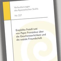 """Cover der deutschen Ausgabe der Enzyklika """"Fratelli tutti"""" /  Bild: """"obs/Deutsche Bischofskonferenz/DBK"""""""