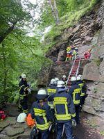 """Rettung des Kletterers über die Rutsche Bild: """"Feuerwehr Wetter (Ruhr)"""""""