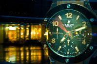 Übergrosse Hublot-Uhr in der Warschauer Hublot-Boutique (Symbolbild)