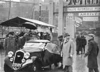 Im Januar 1936 belegte das Fahrerteam Hausman und Pohl (v.l.) mit dem Roadster SKODA POPULAR SPORT den zweiten Platz bei der Rallye Monte Carlo in der Klasse bis 1.500 ccm. Bild: SMB Fotograf: Skoda Auto Deutschland GmbH