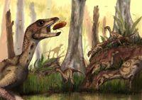 Eine Aquarell-Rekonstruktion einer Herde des kleinen Vogelbecken-Dinosauriers Laquintasaura venezuel Quelle: Copyright: Mark Witton (idw)