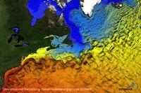 Das Golfstromsystem im Nordatlantik dargestellt durch simulierte Oberflächentemperaturen in einem ho Quelle: Simulation und Darstellung: Ozeanmodellierungsgruppe GEOMAR (idw)