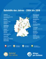 """Alle Sieger bis 2018 auf einen Blick: Mit Winterberg hat Hessen bereits fünf Bahnhöfe des Jahres. Kein Bundesland hat mehr. Bild: """"obs/Allianz pro Schiene/"""""""