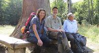 """Das Ziel ist ein Baum mit Migrationshintergrund: V.li. Adele Neuhauser, Peter Wohlleben und Denis Scheck vor einem beeindruckenden Mammutbaum im Naturpark Schönbuch. Bild: """"obs/SWR - Südwestrundfunk/Encanto"""""""