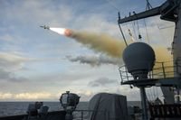 Abschuss eines Seezielflugkörper RGM-84 Harpoon im Schießgebiet Andoya. Bild: Volker Muth