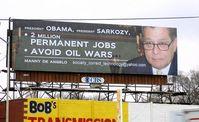 Plakatwand mit der Nachricht an Präsident Obama und Präsident Sarkozy in Detroit, Michigan. Bild: PRNewsFoto/Manny De Angelo
