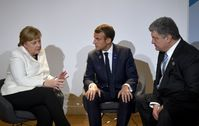 Angela Merkel, Emmanuel Macron et Petro Porochenko en 2018.