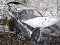 Der ausgebrannte Pkw. Bild: Polizei Olpe