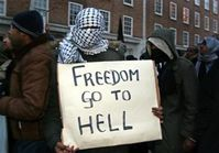 An Islamist protester in London
