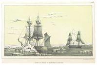 Treffen der Suchschiffe HMS Plover und HMS Herald an der Nordküste Alaskas