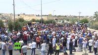 Protestierende Palistinenser auf dem Weg zum Tempelberg (21.07.17)