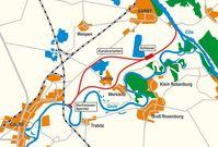 Karte des geplanten Elbe-Saale Kanals
