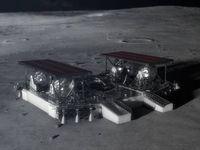 Landegerät-Konzept: Fahrzeuglieferung für den Mond.