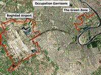 Der Flughafen von Bagdad und die Grüne Zone.