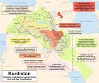 Ausdehnung Kurdistans und Gebietsansprüche im Laufe der Geschichte. Als Kurdistan wird ein nicht genau begrenztes Gebiet in Vorderasien bezeichnet, das als historisches Siedlungsgebiet von Kurden betrachtet wird.