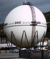 Kugelgasbehälter zur Aufgewahrung von Erdgas (Symbolbild)