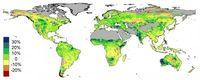 Satellitendaten zeigen in Prozent die Veränderung der Grünpflanzen auf der Welt von 1982 bis 2010.  Bild: Stan Beer - EIKE