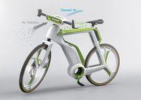 """Air Purifier Bike"": grüner Rahmen generiert Energie. Bild: red-dot.sg"