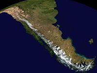 Südteil der Anden, Computergraphik (NASA World Wind)