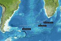 Der Richardson-, der Meteor- und der Orcadas-Seamount liegen alle entlang der Agulhas-Falkland Fracture Zone im Südatlantik. Quelle: Image reproduced from the GEBCO world map 2014, www.gebco.net (idw)