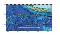 Eine Karte der Christmas Island Seamount Provinz. In gelb sind Arbeitsstationen der Expediton von 2008 eingezeichnet.Quelle: Grafik: IFM-GEOMAR (idw)