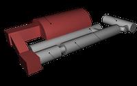 3D-Modell des medizinisch-technischen experimentalen Komplexes des Projekts «Mars-500» wird auf diesem Bild gezeigt. Das 3D-Modell involviert die Module: EU-250, EU-150, EU-100, EU-50 und einen Imitator der Marsoberfläche. Bild: Фёдоров Дмитрий / wikipedia.org