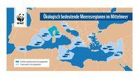 """Bestehende und potenzielle Schutzgebiete im Mittelmeer. Bild: """"obs/WWF World Wide Fund For Nature"""""""